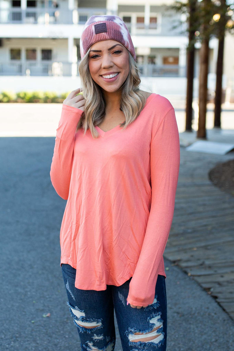 Everyday Long Sleeve Tee in Coral