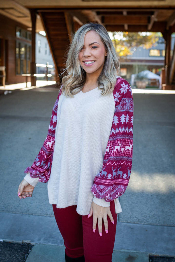 Cinnamon and Spice Waffle Knit Top