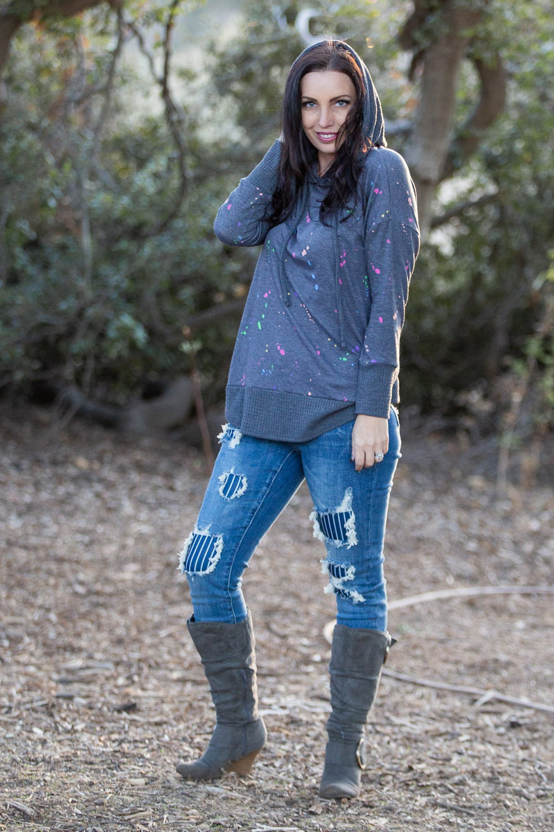 Splattered in Love Knit Sweater Hoodie