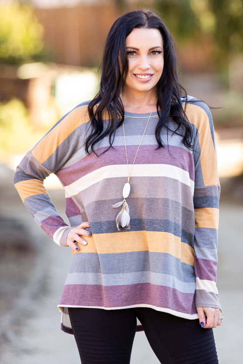 Retro Striped Long Sleeve Top