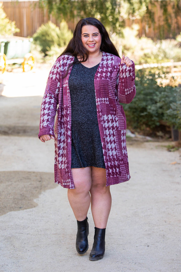 Burgundy Houndstooth Sweater Cardigan