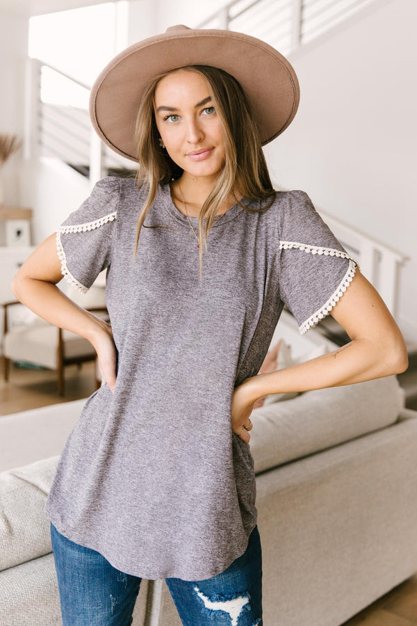 Laced Up & Sophisticated Blouse in Gray