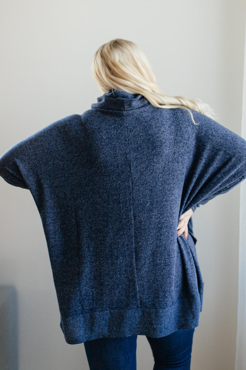 Brushed Melange Cowl Neck Sweater in Navy
