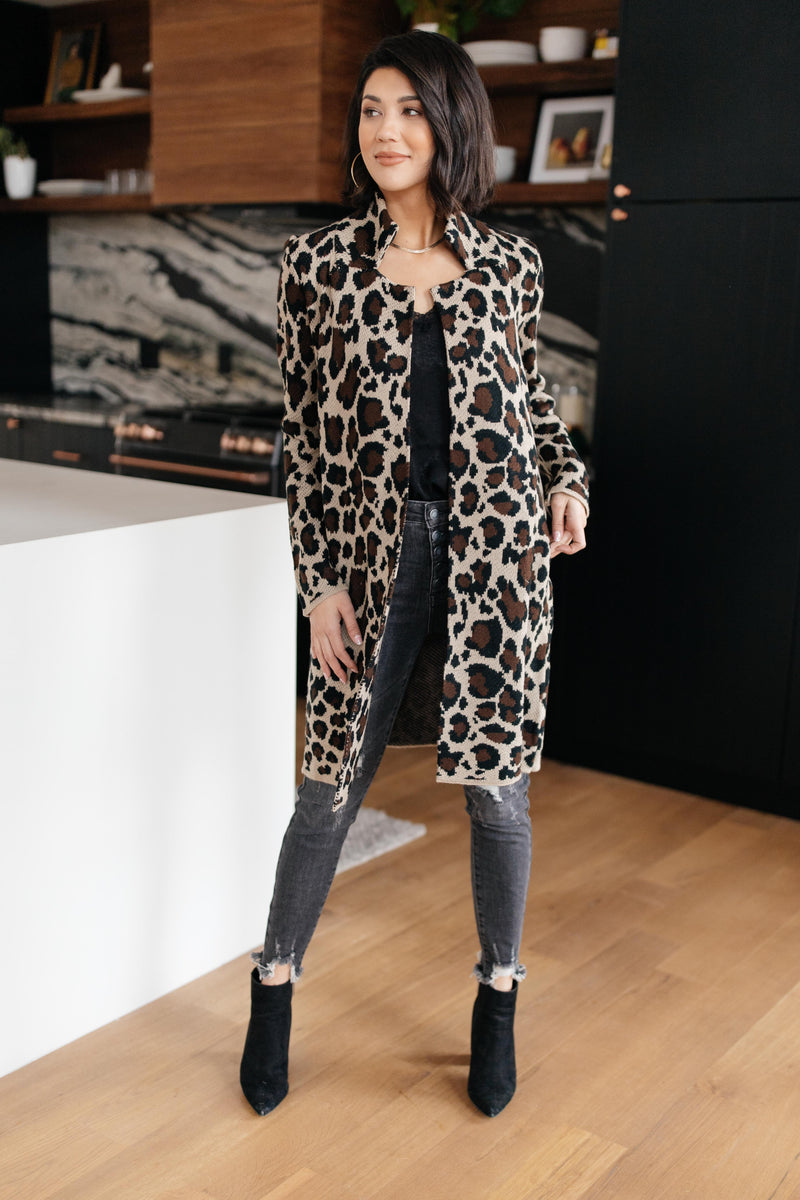 Business Casual Cardigan in Leopard