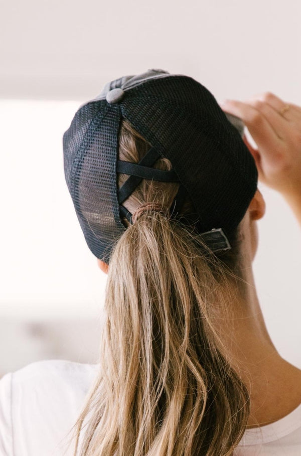 Criss Cross Ponytail Baseball Cap in Black