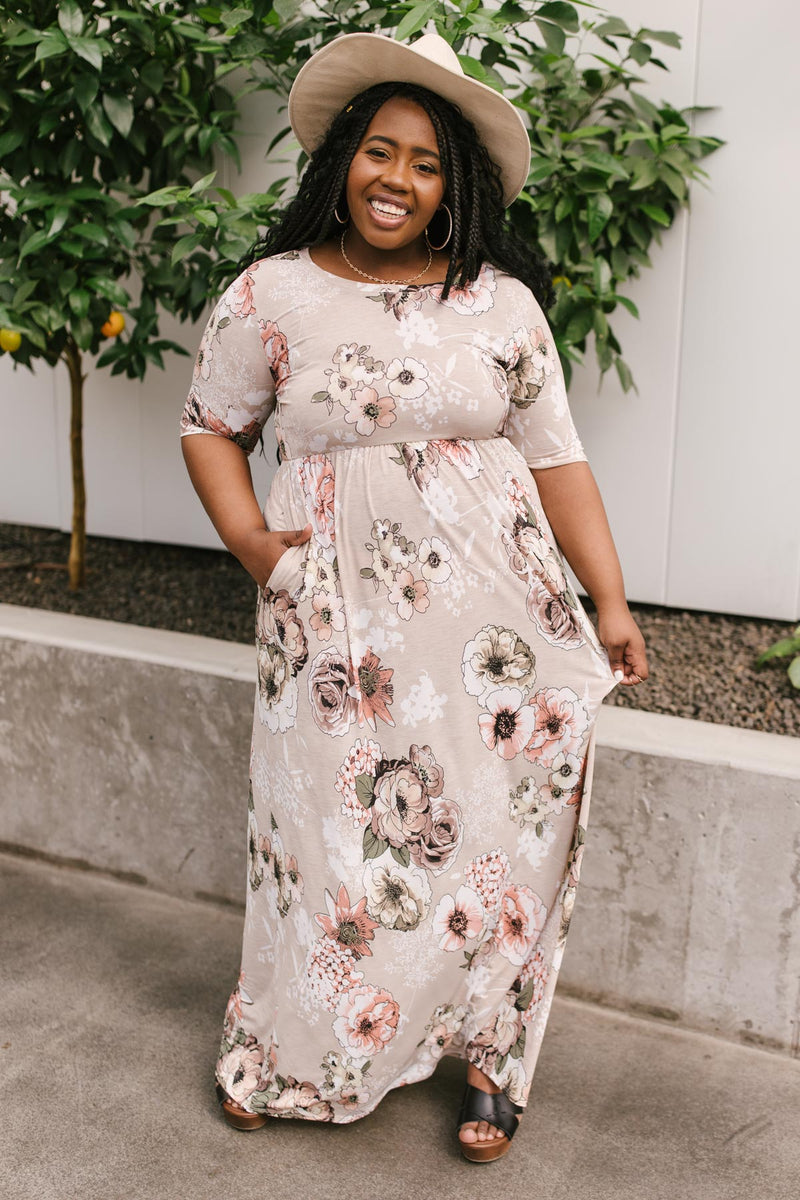 Date Night Maxi in Taupe