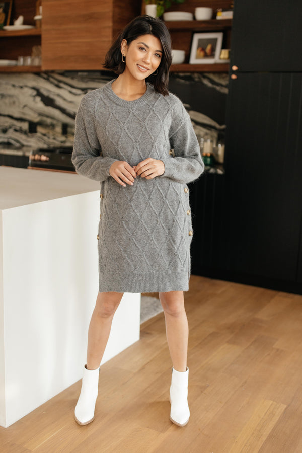 Diamond Details Sweater Dress in Grey
