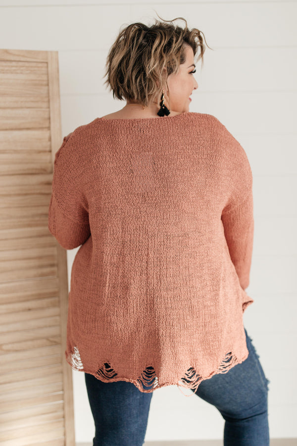 Distressed and Proud Sweater in Ginger