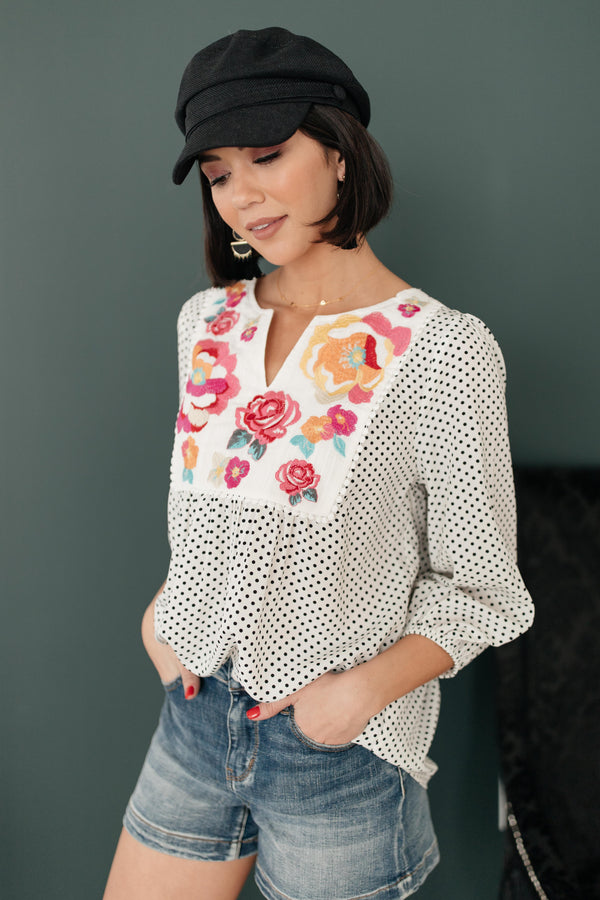 Embroidery and Dots Blouse in Ivory