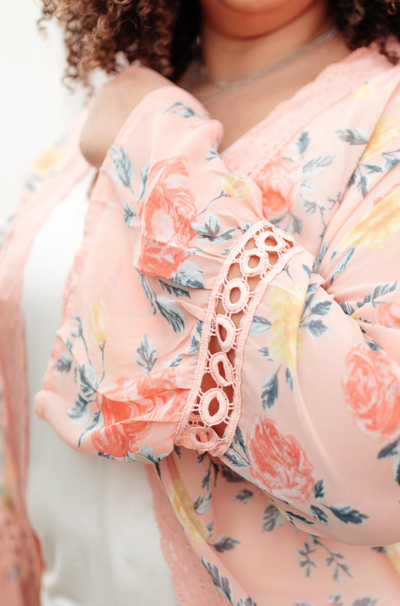 Floral Bell Sleeve Kimono in Pink
