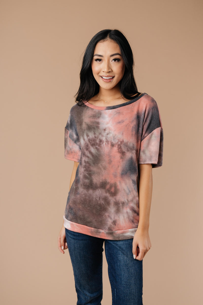 Forgotten Dreams Tie Dye Top In Mauve