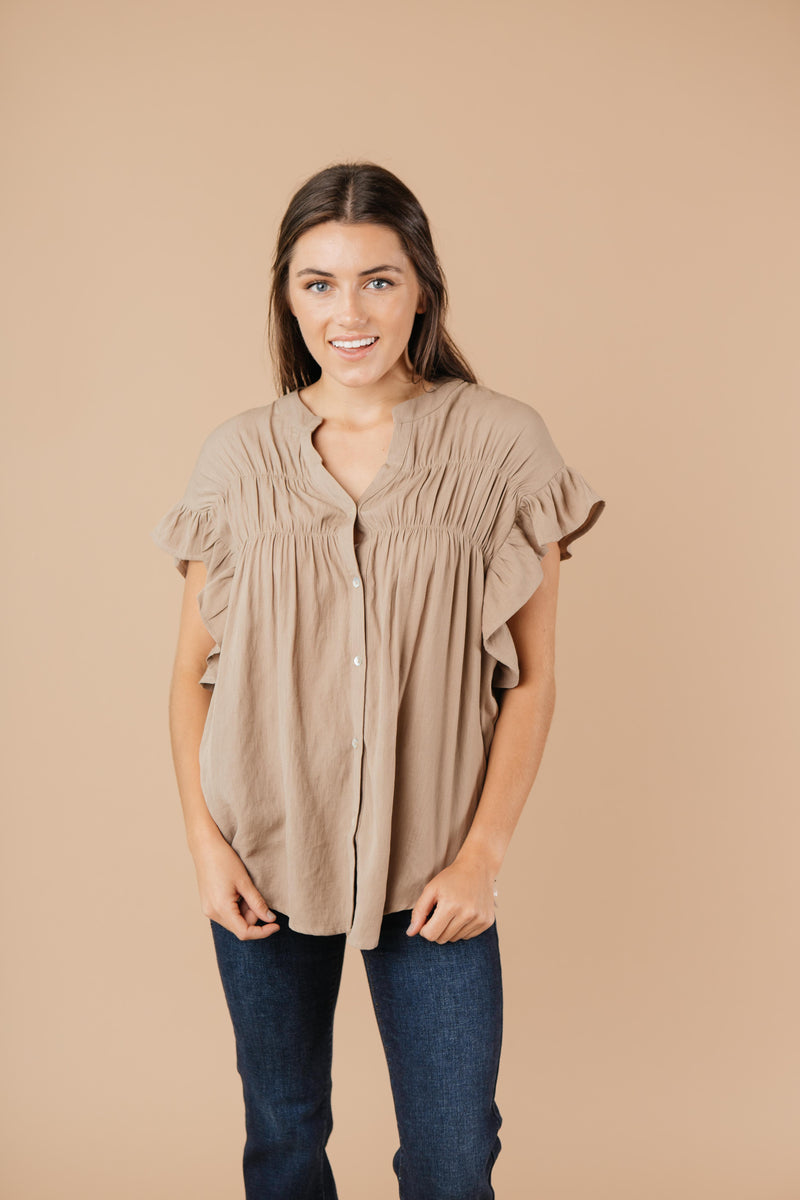 Gather Round Mocha Button Down