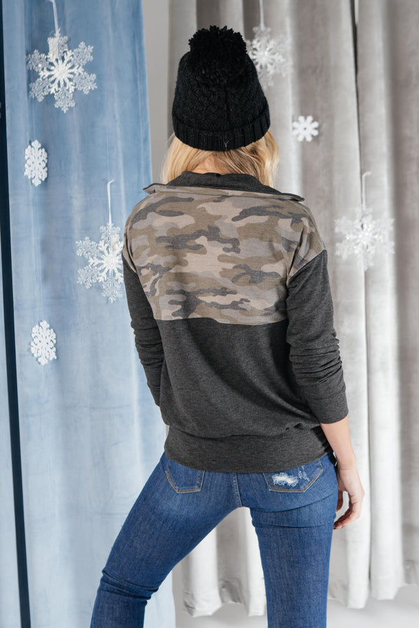 Half Camo Pullover in Charcoal