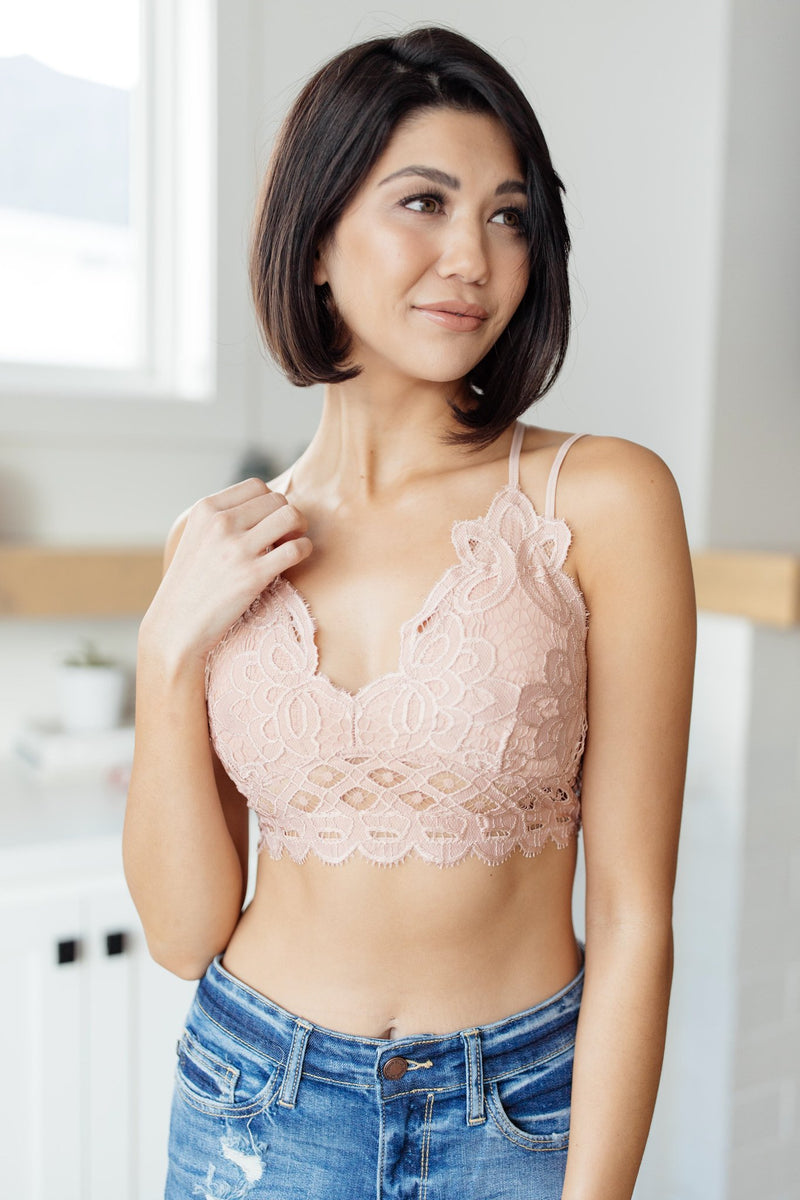 Lacey and Layered Bralette in Misty Rose