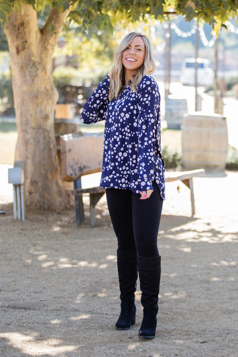 Navy and Daisy Long Sleeve Top