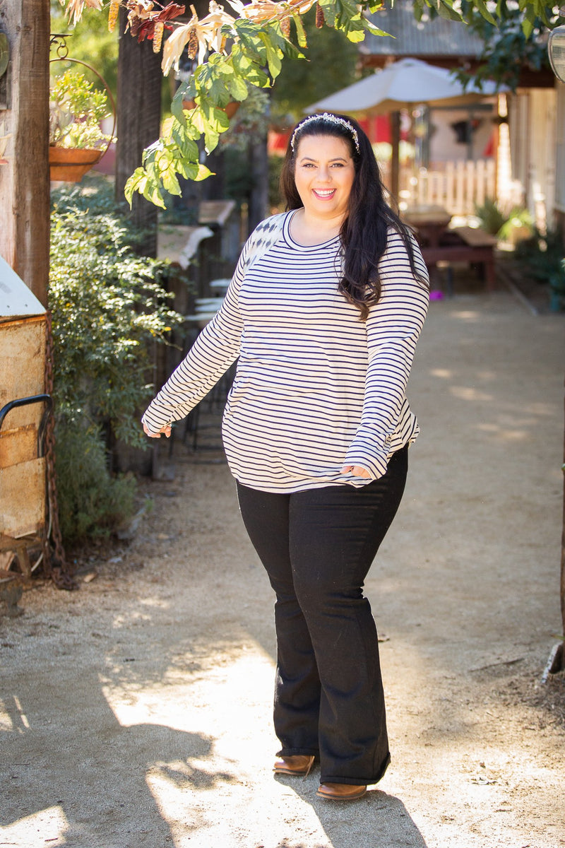 Harmoniously Striped Long Sleeve Top
