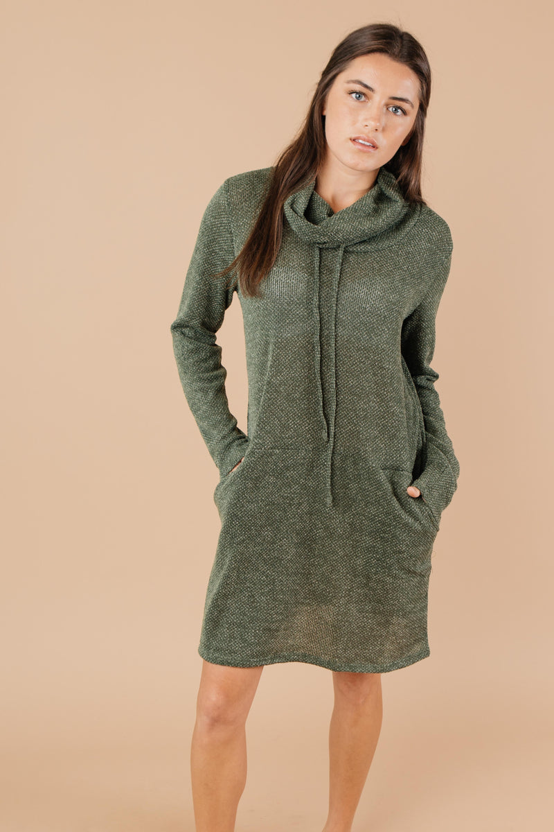 Night Owl Cowl Neck Tunic Dress