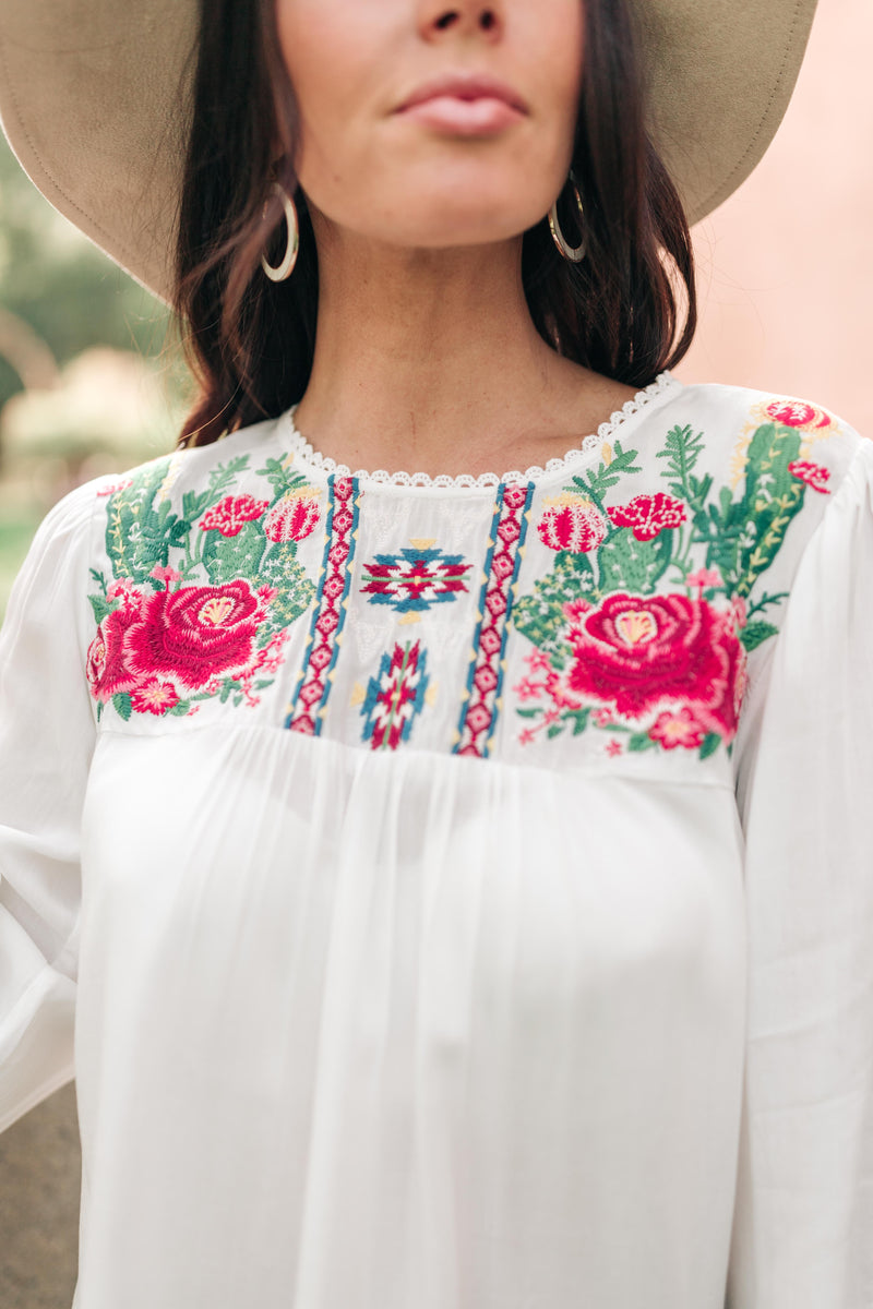 Prickly Business Embroidered Top In White