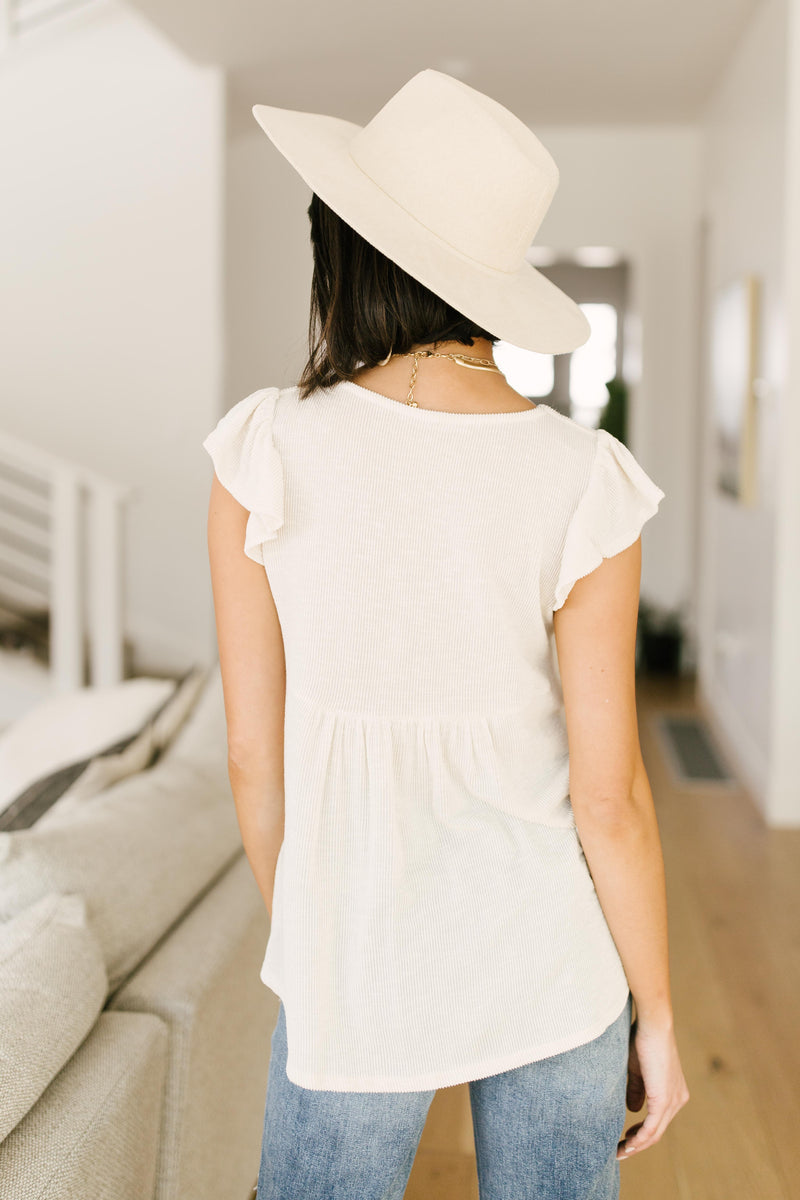Ribbed Flutter Sleeve Top in White