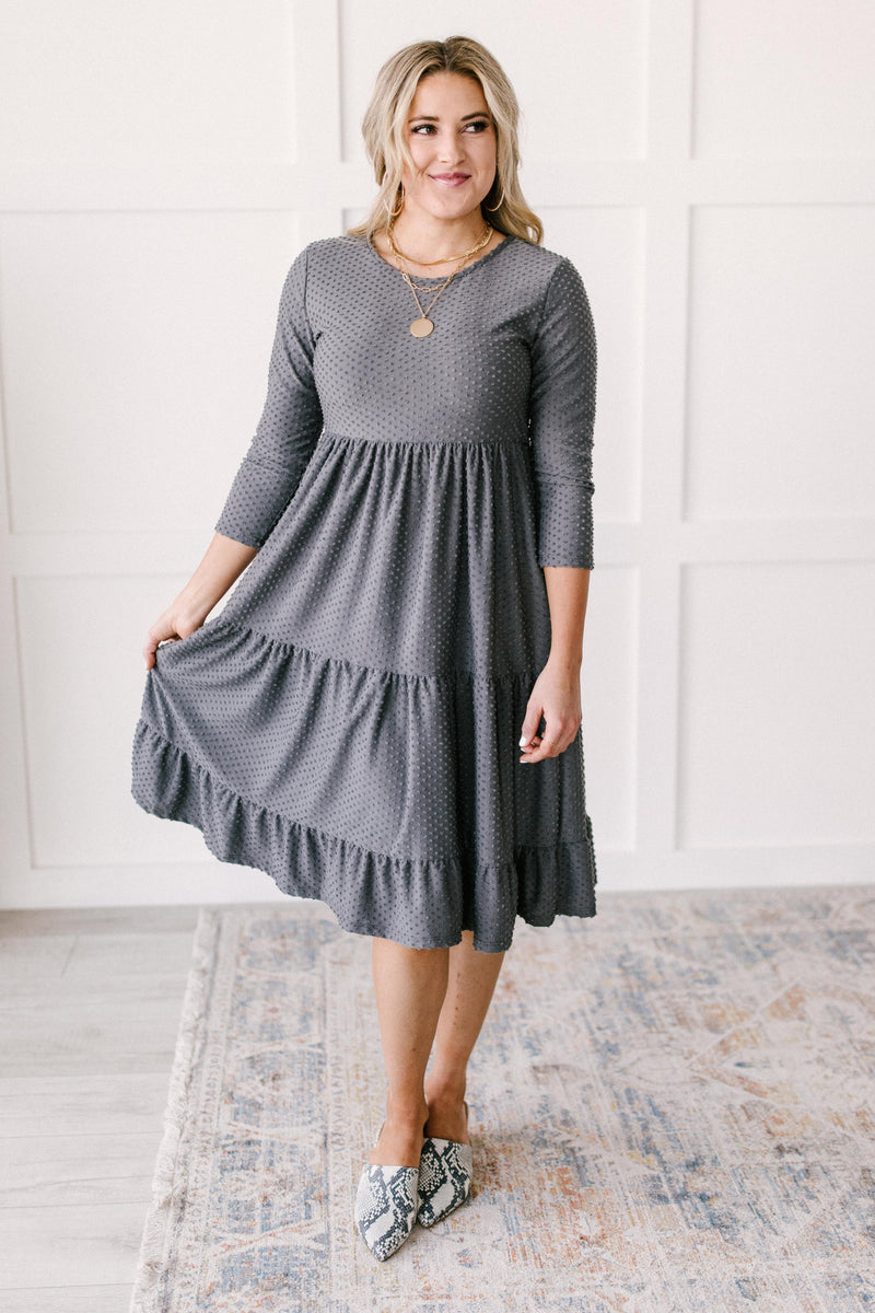 Sara Swiss Dot Dress in Gray