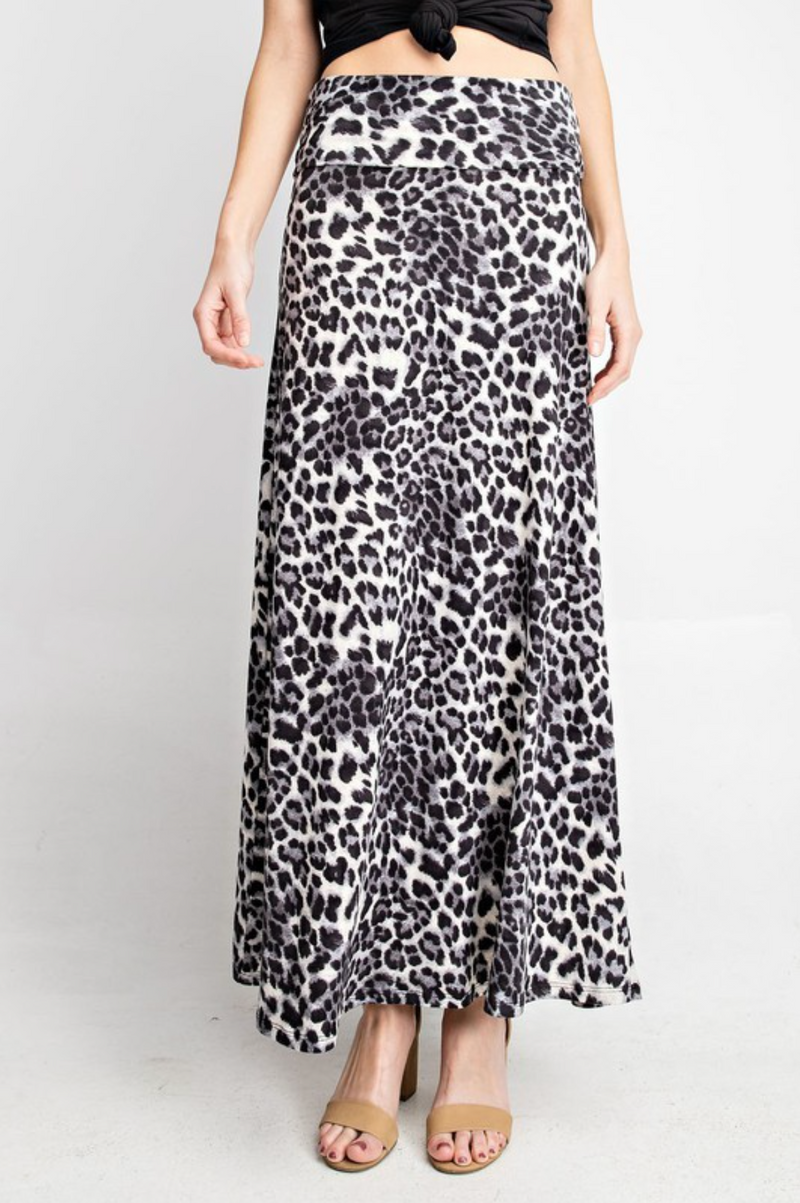 Snow Leopard Maxi Skirt