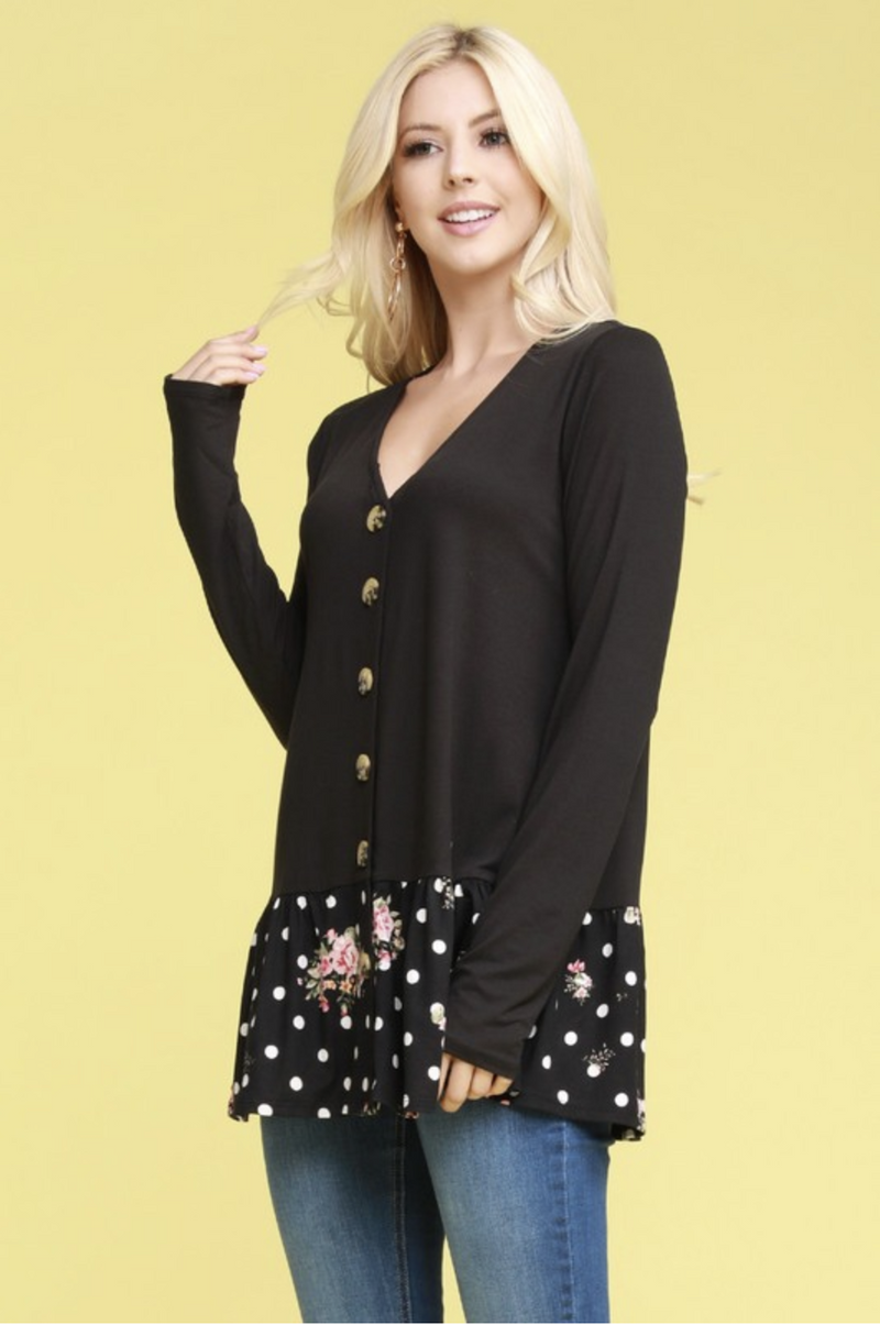 So Into You Ruffle Tunic in Black