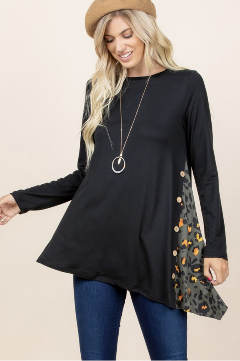 Thinking of the Day Side Button Tunic