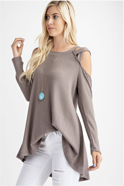 X's and O's Long Sleeve Tunic in Latte