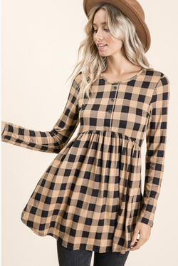 Make You Mine Babydoll Tunic in Taupe