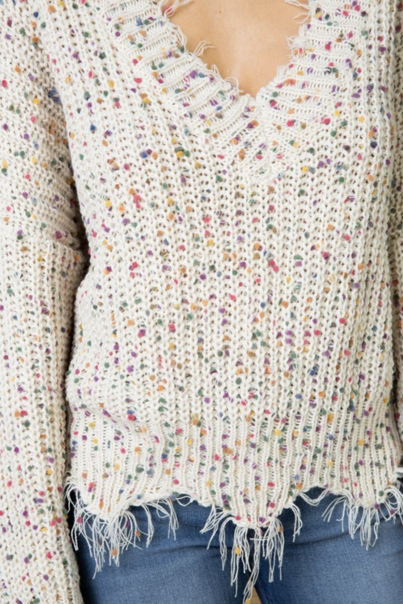 Funfetti Frayed Sweater