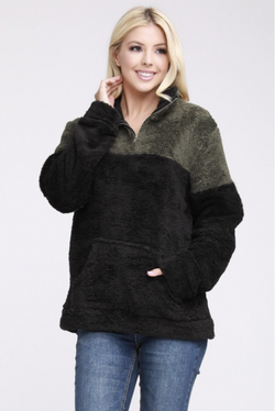 Cuddle Bear Sherpa In Olive & Black