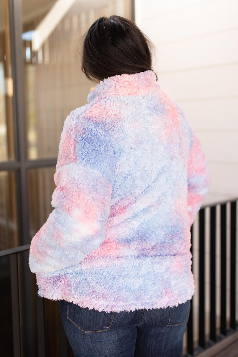 Shades and Sherpa Pullover in Cotton Candy