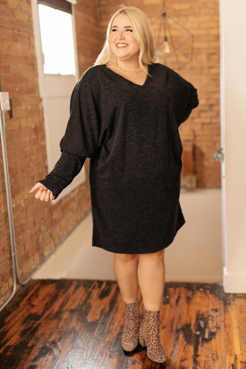 Sienna Sweater Dress in Coal