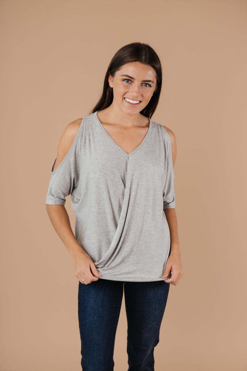 Split The Check Top In Heather Gray