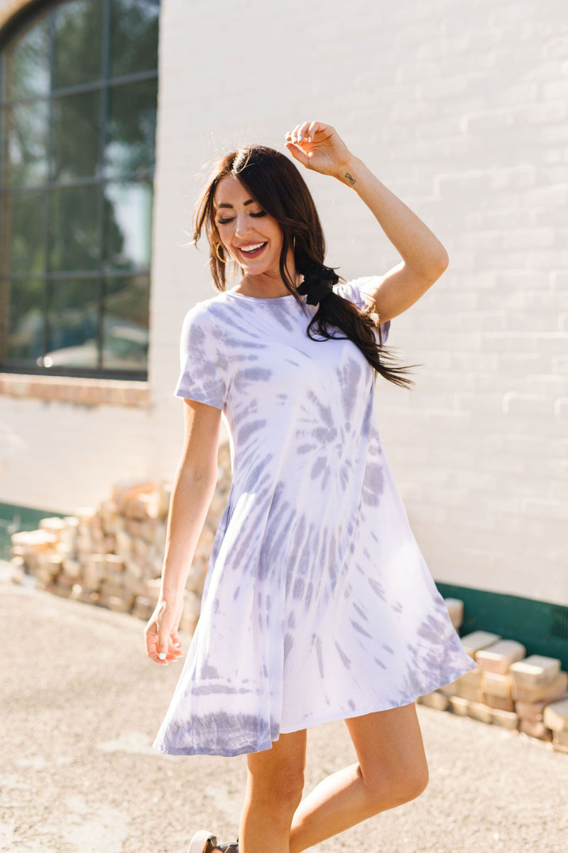 Swirl Tie Dye Dress In Gray