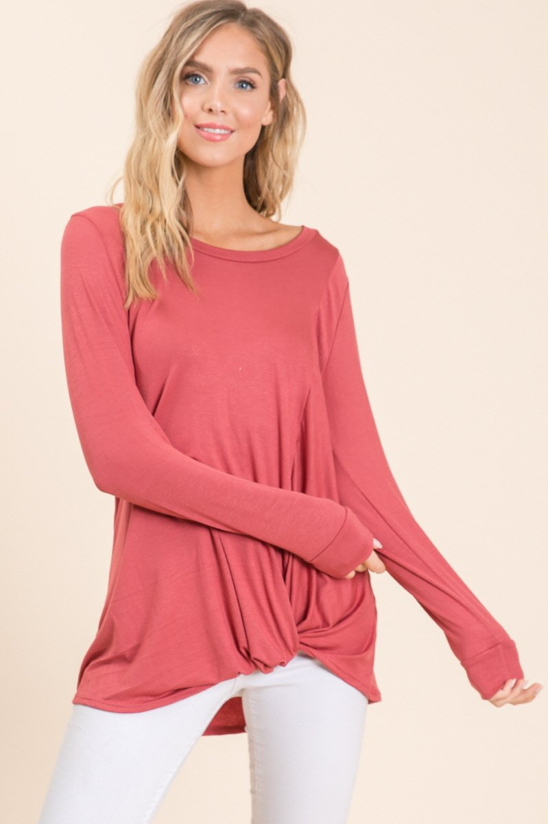 Long Sleeve Tunic with a Twist in Brick