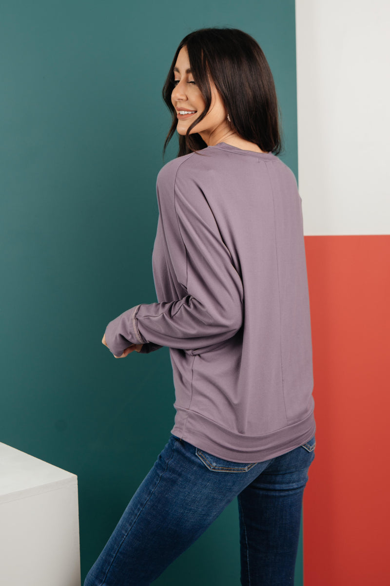 The Lillian Cut-Out Neckline Top in Lilac