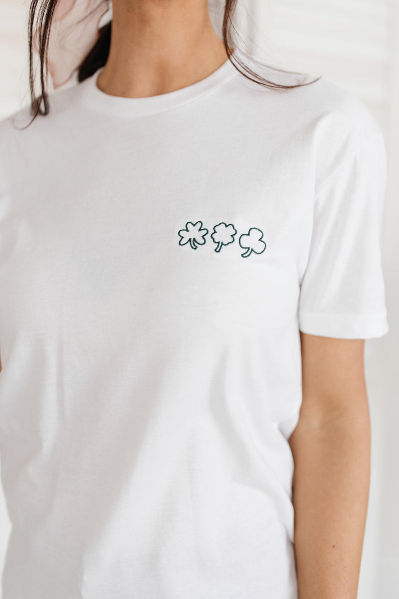 Embroidered Three Shamrock Tee
