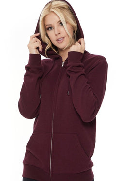 Cozy Casual Zip Up Hoodie in Wine