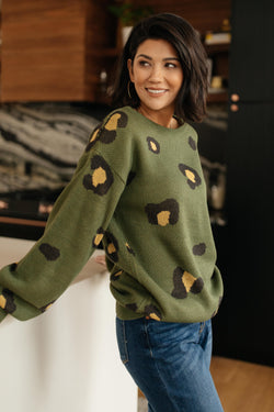 Winter Greens and Spots Sweater
