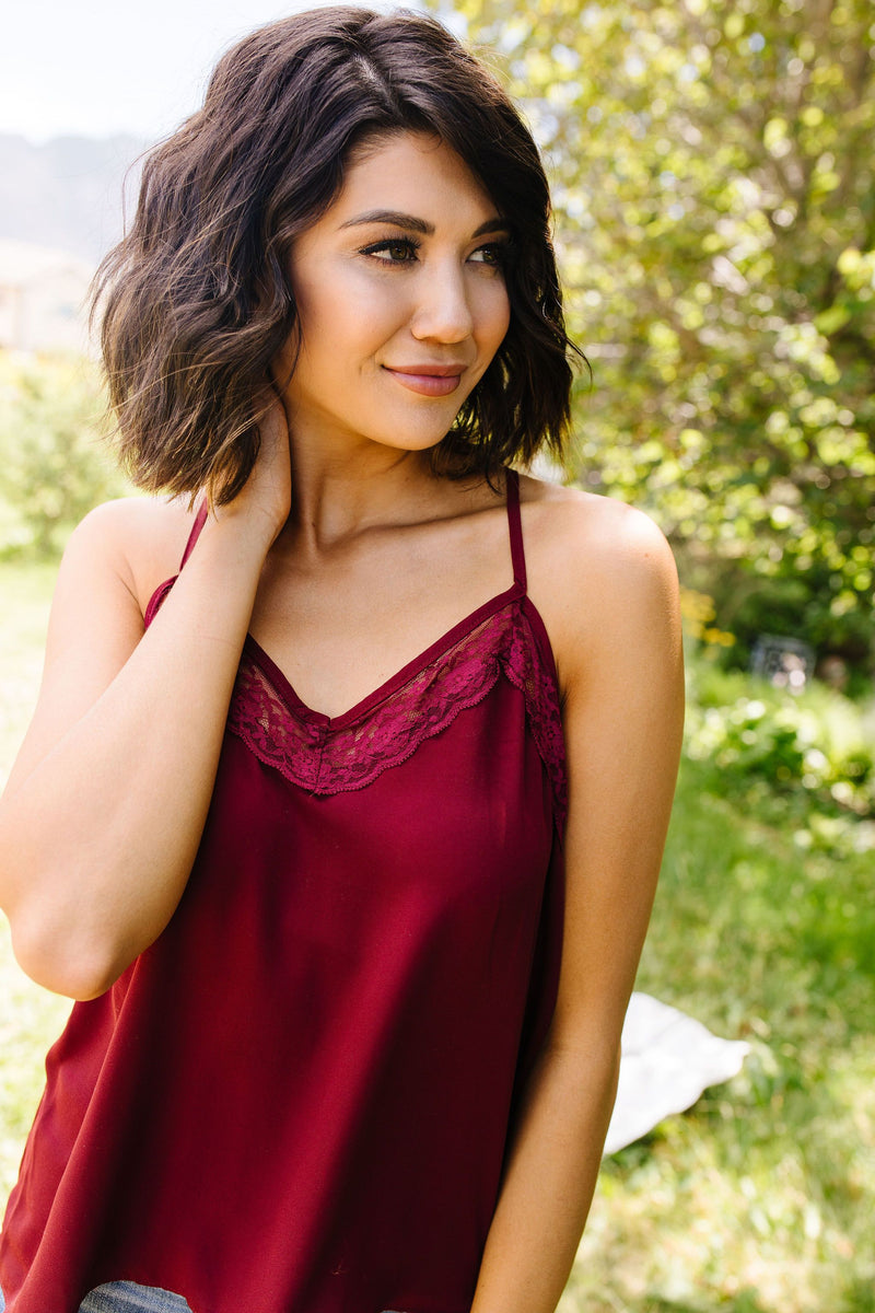 Burgundy & Lace Camisole