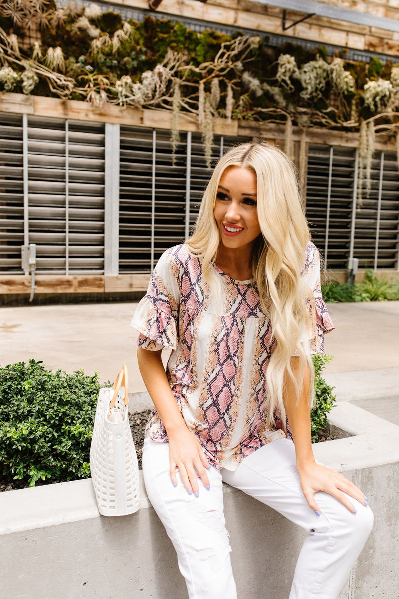 Don't Get Ruffled Snakeskin Top
