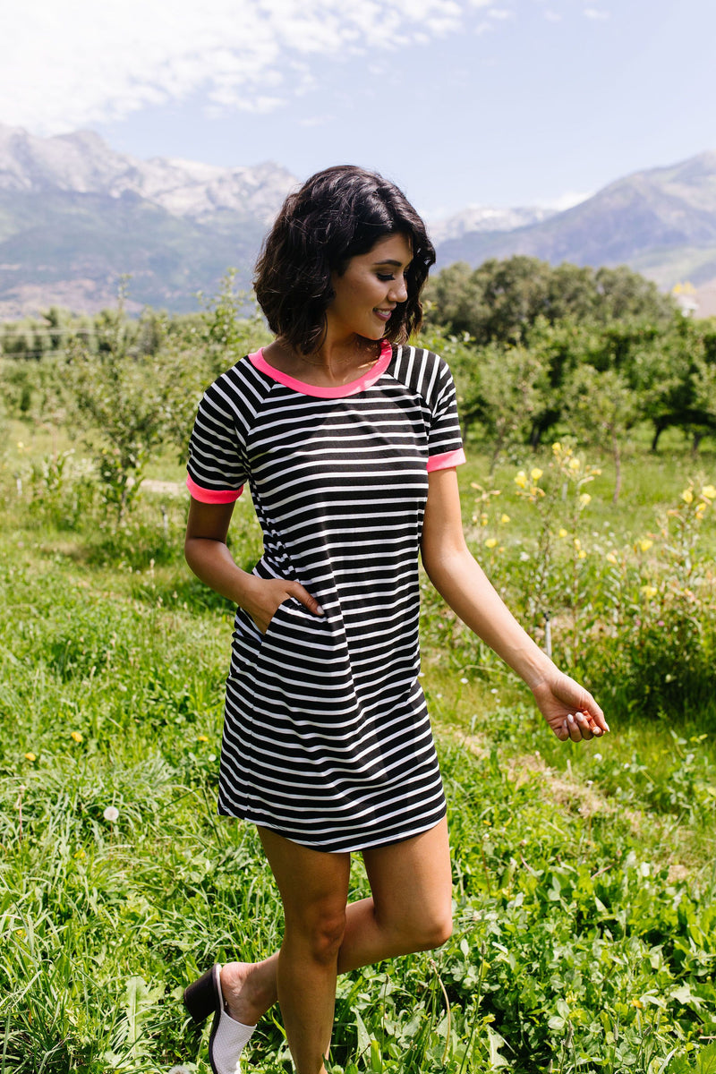 Later Skater T-shirt Dress With Hot Pink Trim