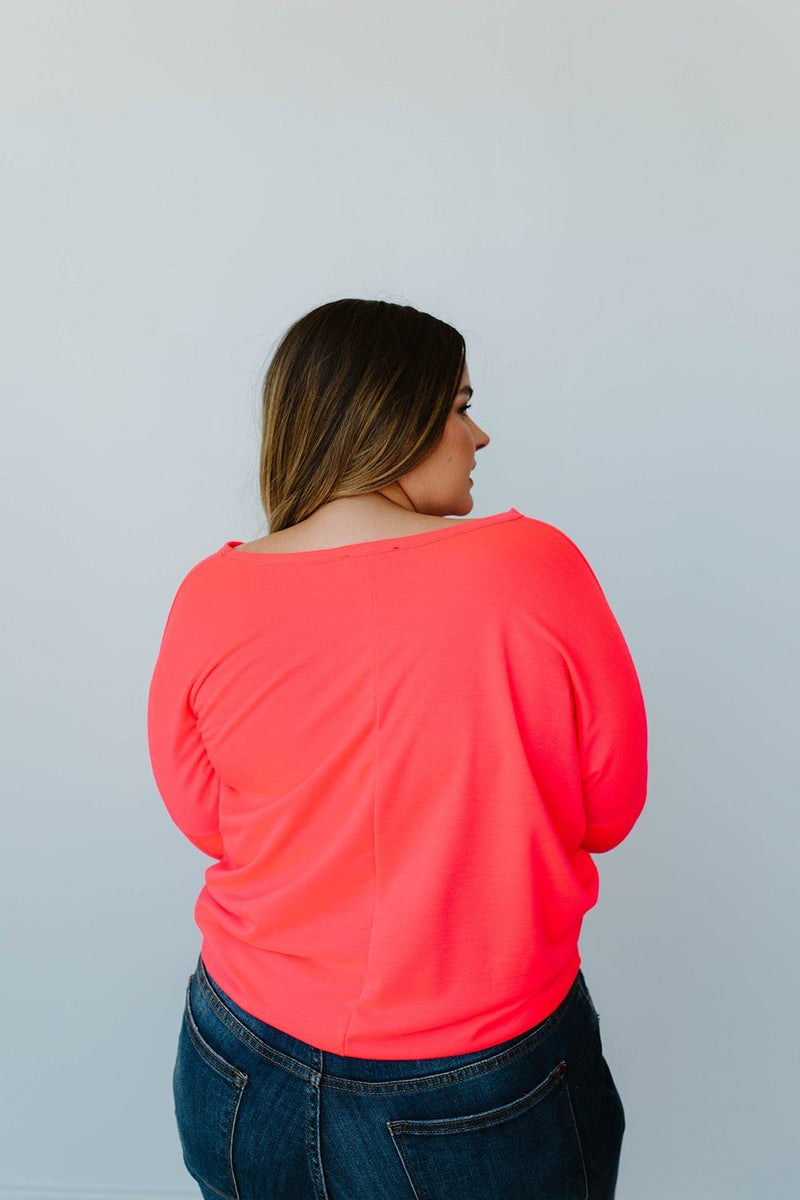 Lounging In Color Top In Neon Coral