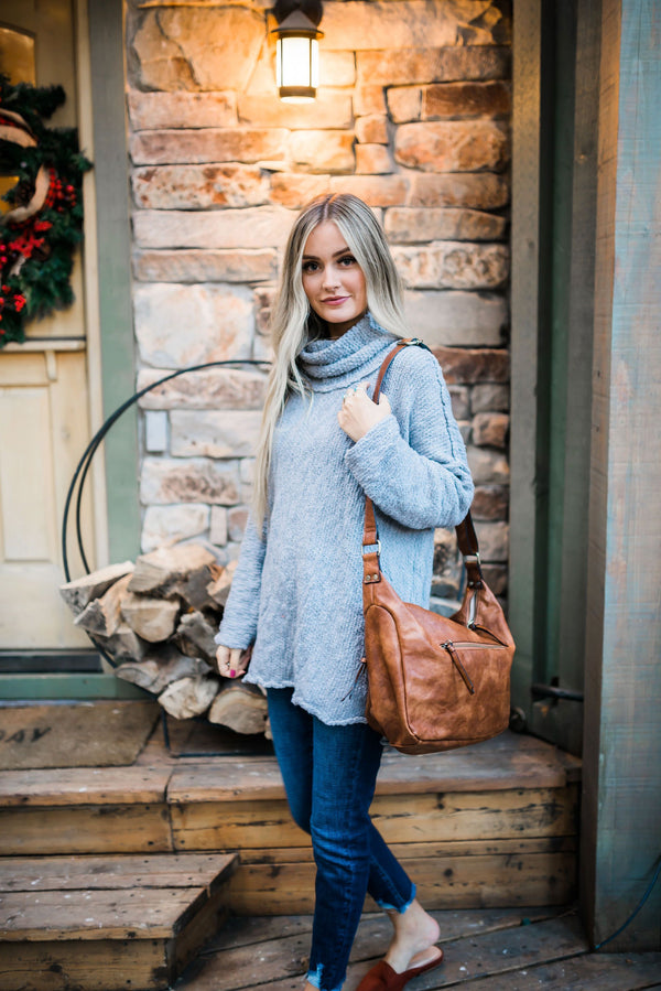 Nubby Gray Cowl Neck Sweater