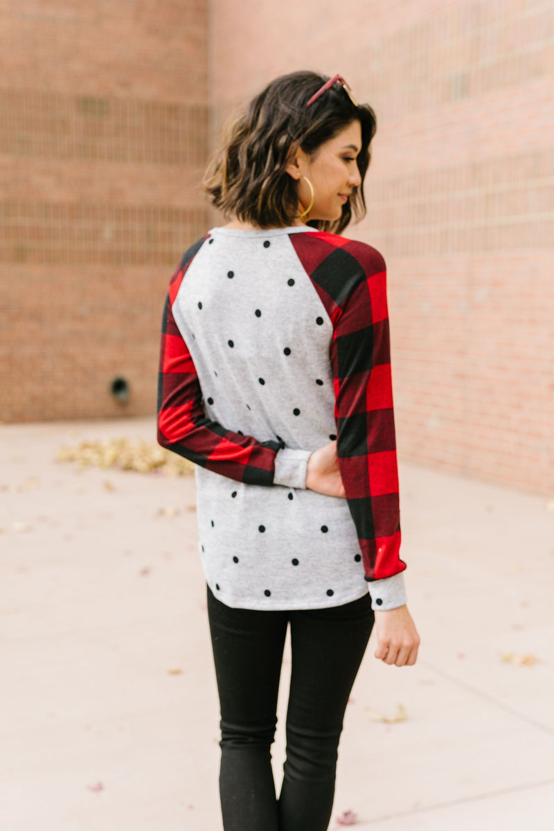 Spot Of Plaid Raglan Top