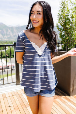 Striped Peekaboo Buttons & Lace Top