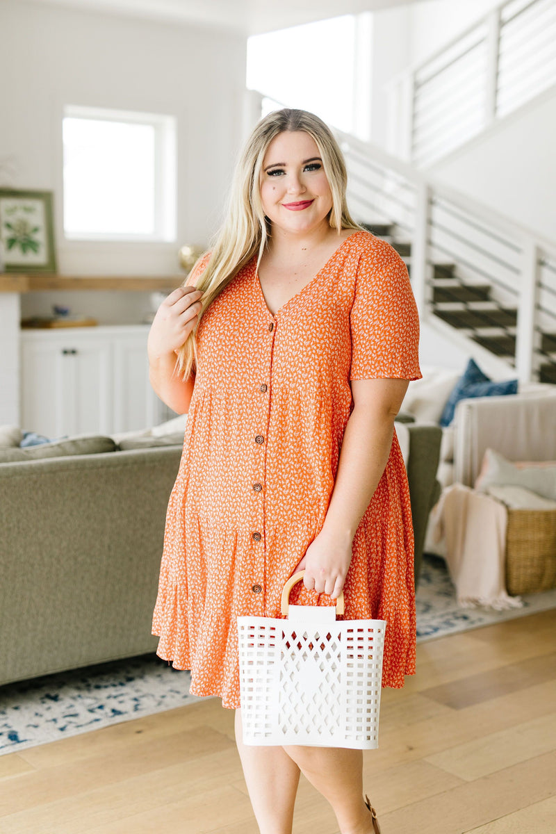 Summertime Button-Down Dress In Coral