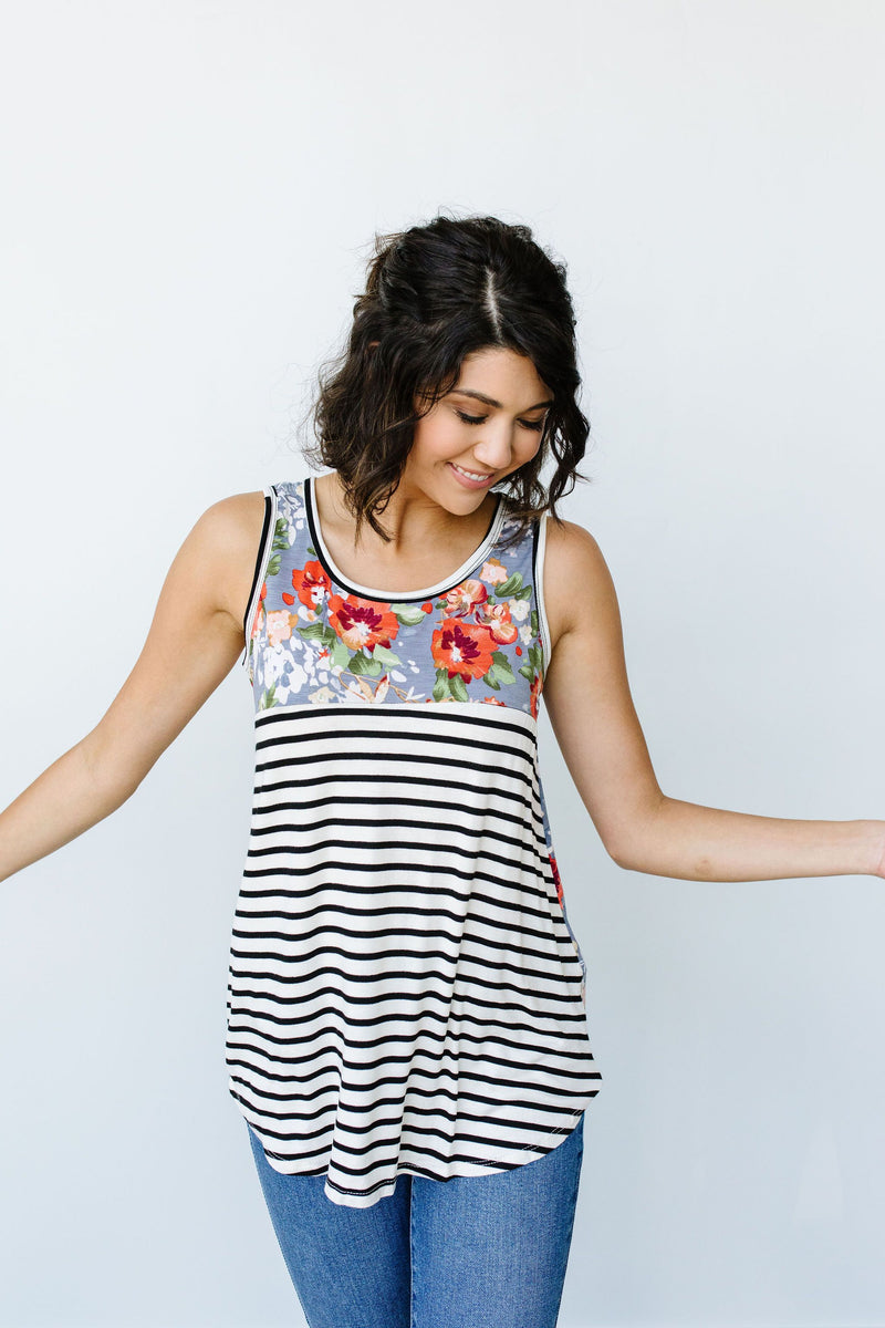 Tank Heavens Floral & Stripes Top