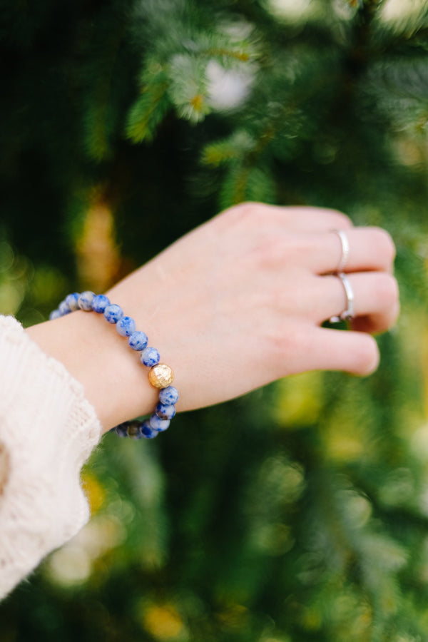 Touch Of Gold Stone Bracelet In Blue Sodalite